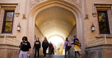 Wooster College's Kauke Hall arch is integral to many campus traditions