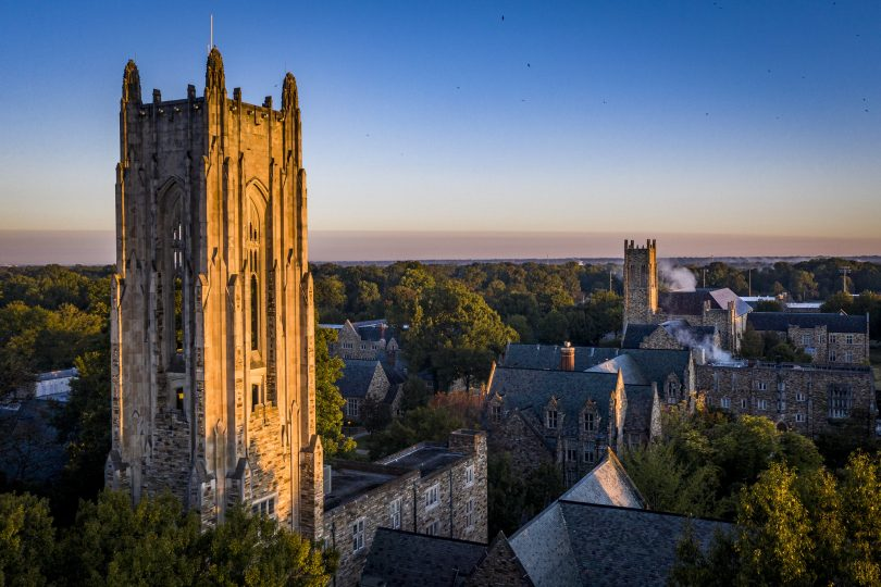 an aerial photo of Rhodes College