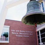 Bell outside of the Les and Kathy Coleman Sports, Recreation and Fitness Center