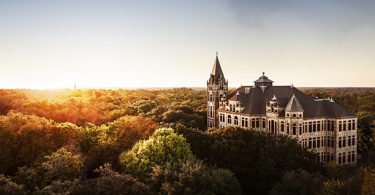 An aerial view of the Southwestern University campus, where students are educated for tomorrow.
