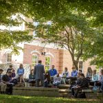 Hillsdale College students have class outside