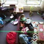 Students study and visit in a Knox College common room