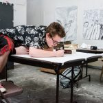 A Marlbroro student in a drawing class