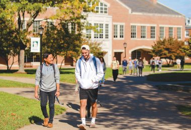 Students walk from class in Merritt Hall.