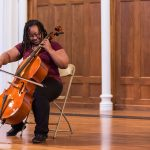 A student plays her cello at Ursinus