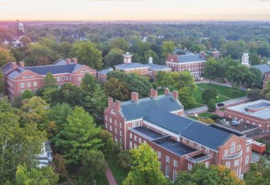 An aerial view of the Wabash campus