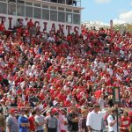 Students cheer at a Wabash College football game