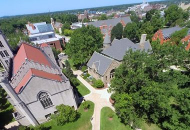 An aerial view of the Hope College campus