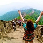 A Juniata College student walks along the Great Wall of China