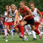 Lynchburg College women's field hockey team plays a match