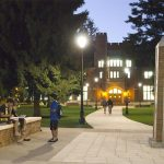 The University of Puget Sound lit up at night