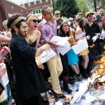 Reed College burn their notes as part of the Renn Fayre celebration in the spring