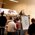 Ursinus College students in an art class