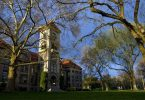 A view of the Whitman College campus on a spring day