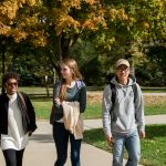 Denison students walk to class together