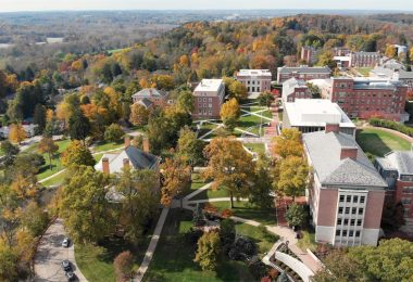 an aerial view of Denison University