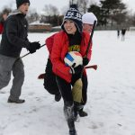 Centre College students play games in the snow