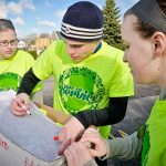 Earlham College students working together on the Day of Service