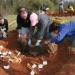 Guilford College students participate on an archaeological dig