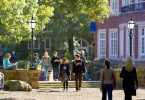 Hendrix College students walk to class