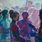 Whitman College students in a color run
