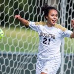 A student-athlete on the Women's Soccer team celebrates a goal Wooster boasts 23 Division III varsity athletic teams.