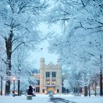A peacefully shot of Kauke Arch following a winter snowfall.