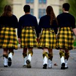 Some of our Bagpipe Corps walking through campus in MacLeod tartan kilts. The College of Wooster is proud of our Scottish heritage. Go Scots!