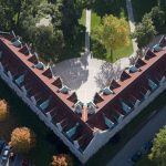 An aerial view of Kenarden Lodge. Built in 1911, Kenarden is one of sixteen residence halls at the College of Wooster. 99% of our 2,000 plus students live on campus.