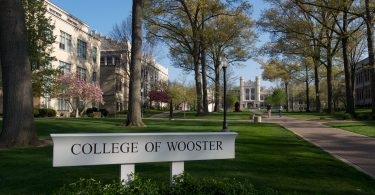 A view through the main academic quad at College of Wooster, America's Premier College for Mentored Undergraduate Research.