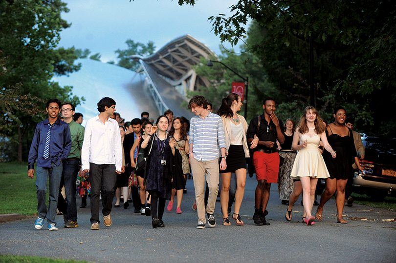 Bard students walking from the Performing Arts Center.