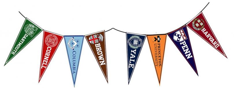 pennants from Ivy League schools