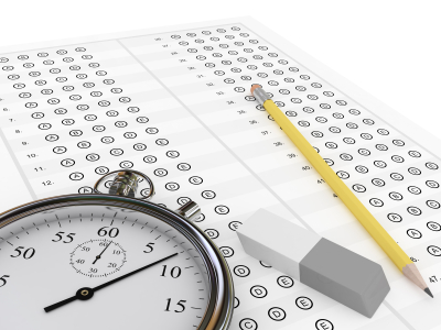 A test booklet, pencil, eraser, and stopwatch