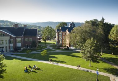Arial photo of Juniata College campus facing towards von Liebig Center for Science and Founders Hall.