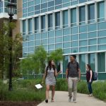 Students walk to class outside the IDEA Center for sciences