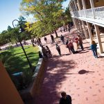 students walk across the Santa Fe campus
