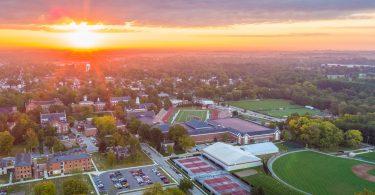 The sun rises over the Wabash College campus
