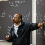 Chemistry professor teaches a class at Kalamazoo College