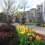 Tulips bloom in front of Hope College's Dimnent Chapel
