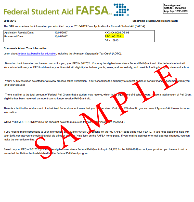 a sample copy of the student aid report