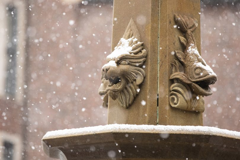 Snow falls on the University of Puget Sound campus.