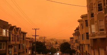 orange skies over San Francisco
