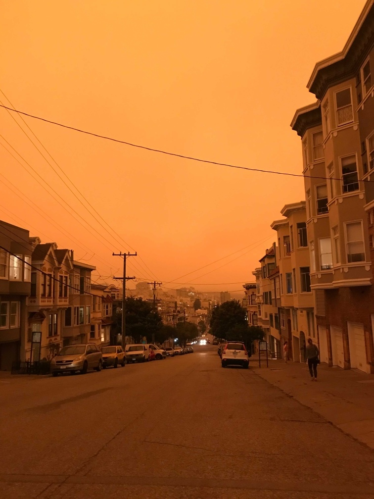 orange skies over San Francisco