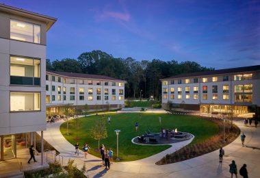 The Goucher College campus at night