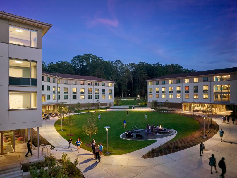 The Goucher College campus at night