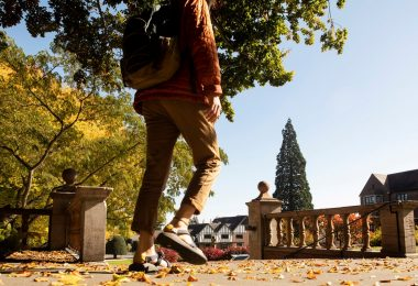 Student walks across campus during the autumn.